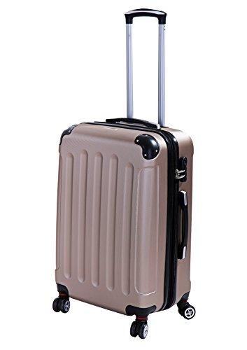 P-Collection Koffer Trolley Handgepäck Reisekoffer Hartschalenkoffer Zwillingsrollen M-L-XL-Set Dehnungsfuge 5 Farben (Champagner Größe L)