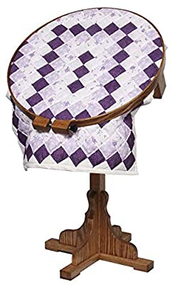 """Amish Oak Wood Swivel 22"""" Quilting Hoop with Stand"""