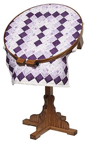 """Amish Made Oak Wood 22"""" Swiveling Quilting Hoop with Stand (Medium Walnut)"""