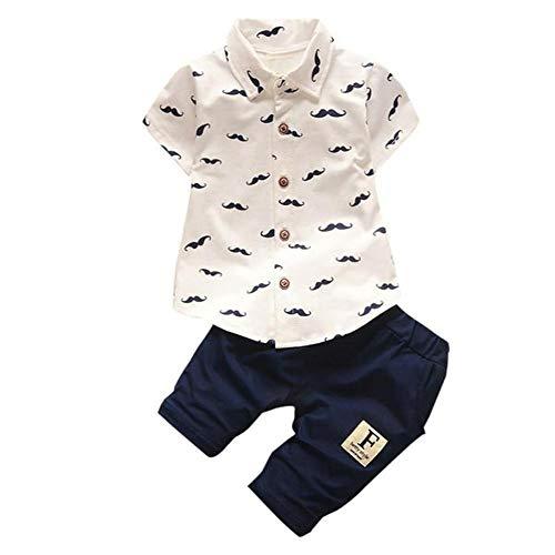 FELZ Ropa Bebe Niño Niña Verano Recién Nacido 6 Meses a 2 Años Camiseta de Manga Corta Barba Impresa + Pantalones Cortos Conjunto de ropa/2pc Verano Pijamas de bebés