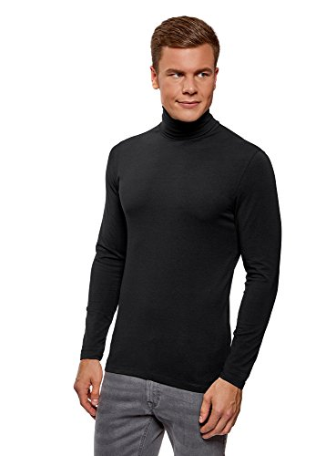 oodji Ultra Hombre Suéter de Cuello Alto Básico Ajustado, Negro, S