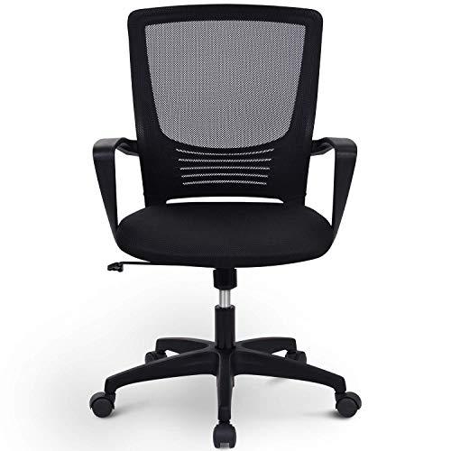 Merax Bürostuhl, Schreibtischstuhl, Chefsessel sitzkomfort Bürodrehstuhl Computertischstuhl mit Rückenlehne, drehbarer, Höhenverstellung, Armlehne und ergonomischer Tailestütze (Schwarz)