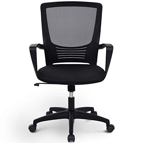 Merax Office Chair, Desk Chair, Executive Chair, Seat Comfort, Office Swivel Chair, Computer Desk Chair with Backrest, Rotatable, Height Adjustment, Armrest and Ergonomic Waist Support (Black)