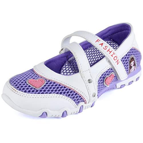 DimaiGlobal Kinder Mädchen Sandalen Geschlossen Mesh Schuhe Atmungsaktiv Prinzessin Flach Kinderschuhe Frühling Sommer Knöchelriemchen Leder Ballerinas Schuhe 33EU Lila