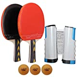 MAPOL 2-Player Professional Handy Ping Pong Paddle Set - 2 Premium Table Tennis Rackets / Paddles - 1 Retractable Net - 3 Quality 3-Star Balls - 1 Portable Carrying Bag