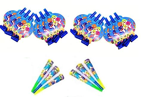 Baby Shark Birthday Party Supplies 12 Blowers and 6 Horns Blue
