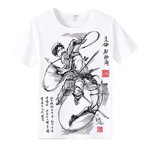 LOOVEE Maglietta Attack on Titan per Uomo Donna, Anime T Shirt 3D Shingeki No Kyojin Scout Regiment Levi Ackerman Anime Cosplay Maglietta Manica Corta Tee Maglia Shirt Camicia Camicetta Top (4,L)