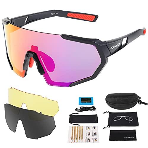 colmanda Gafas de Ciclismo Polarizadas, Gafas Ciclismo UV400, 3 Lentes Intercambiables para Hombres y Mujeres, Gafas Sol Deportivas para Bicicleta, Montaña, Navegar, Pescar, Conducir (rosso)