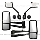 Door Mirror Power Heated Black and Hood Mirror Black with Mounting Kits- Driver and Passenger Side (Fit: 2013-2020 Kenworth T680 T880, 2013-2020 W990 Trucks)