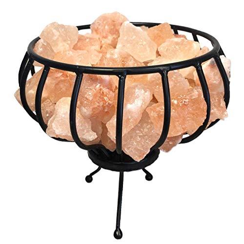 SudoreWell® Feuerkorb Metallkorb mit Sole Salzbrocken Ø 20 cm aus der Salt Range Pakistan