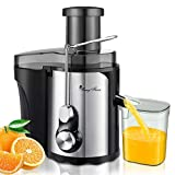 Juicer Machines, 600W Centrifugal, Quick Juice, High Yield, Small & Compact, 3'' Wide Mouth, Quiet, Stainless Steel, Easy Clean, Anti-drip, Overheat Protect, Pure Juice Extractor for Vegetable Fruit