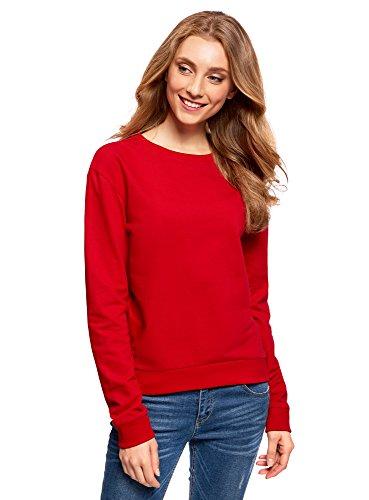 oodji Ultra Damen Baumwoll-Sweatshirt Basic, Rot, DE 34 / EU 36 / XS