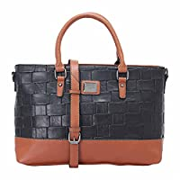Grinta Zip Up Closure Two-Tone Leather Top Handle Bag for Women - Black and Camel