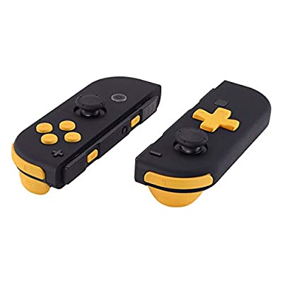 eXtremeRate Soft Touch Caution Yellow D-pad ABXY Keys SR SL L R ZR ZL Trigger Buttons Springs, Replacement Full Set Buttons Fix Kits for Nintendo Switch Joycon (D-pad ONLY Fits Joycon D-pad Shell)