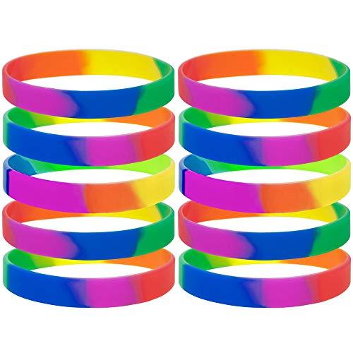 GOGO 10 Stück Rainbow Pride Silikon Armbänder, Gummiarmbänder, Motivationsarmbänder, Unisex Armbänder, Partyartikel