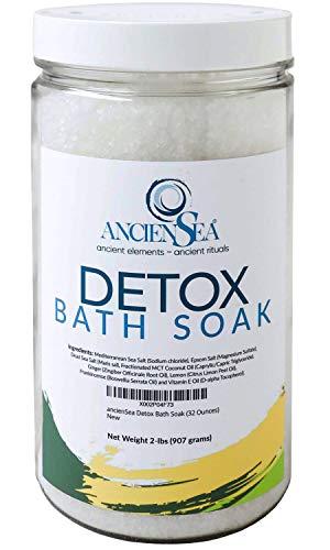 New Detox Bath Salt 32 Ounces Dead Sea Salt and Epsom Salt Plus Pure Ginger, Lemon, and Frankincense Essential Oils in Beautiful 2 Pounds Jar