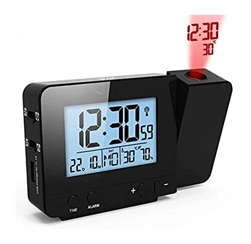 DZHTSWD-Projektion Wecker Digital Datum Snooze-Funktion Hintergrundbeleuchtung drehbar Weckprojektor Multifunktions-LED-Uhr (schwarz), Farbe: schwarz (Color : Black)