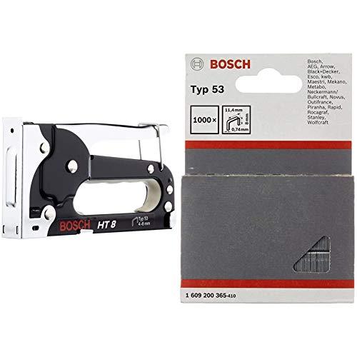 Bosch Professional Handtacker HT 8 (Holz, Klammertyp 53) & 1609200365 1000 Tackerklammern 8/11,4 mm Typ5