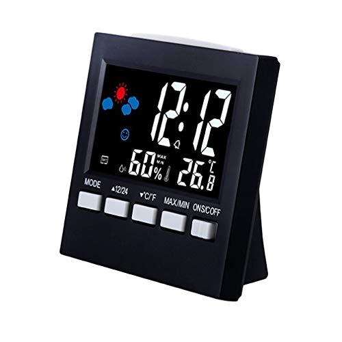 Sunnyday Uso múltiple Termómetro Digital Higrómetro Pantalla LCD Colorida Previsión del Tiempo Alarma de Reloj Control de Voz Función de retroiluminación