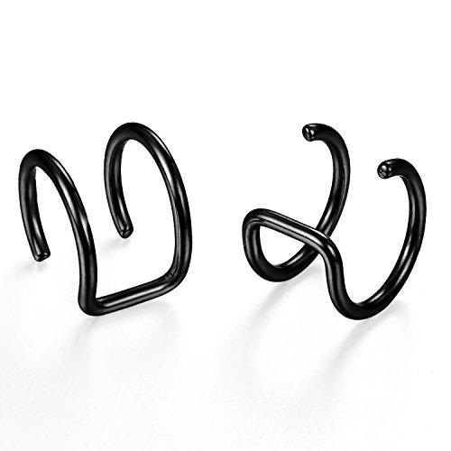 Flongo Edelstahl Ohrringe Ohrstecker Ohrclip Ohrklemme Non Piercing Fake Captive Ring Ohrpiercing Helix Cartilage Knorpel Piercing Schwarz Herren, Damen