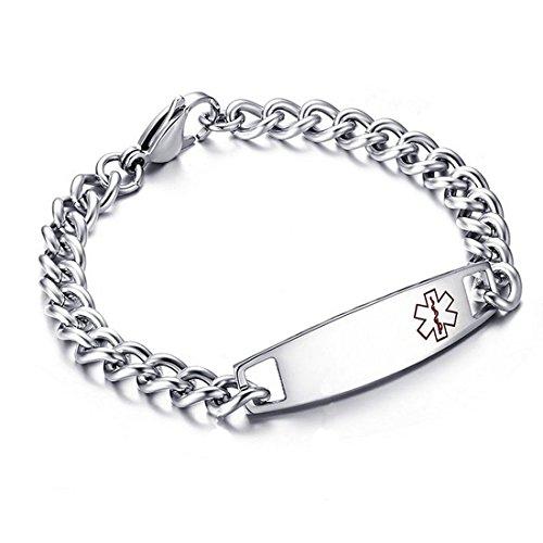 "DIB Free Engraving Stainless Steel Medical Alert ID Bracelets Women Men Silver, Wrist Link Chain 7.5"""