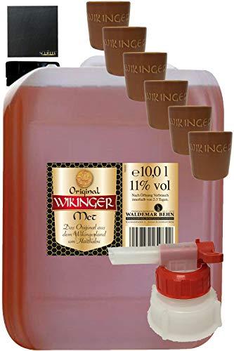 Wikinger Met 10 Liter Kanister + Tonbecher Groß 6er Set + Ausgießer