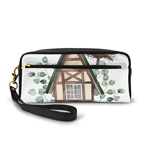 Estuche de piel sintética pequeña,Acuarela Happy Home Label House en nido de cigüeña blanca de estilo alpino,Bolsa de maquillaje bolsa