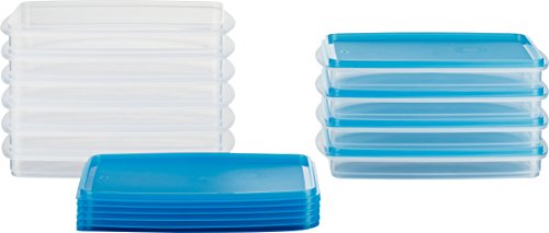 MiraHome Frischhaltedose Gefrierbehälter Stapelbehälter 0,5l rechteckig 23x14x3,2cm 10er Set blau Austrian Quality