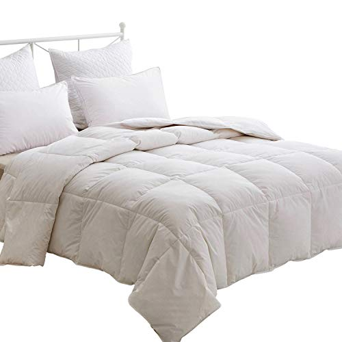 HOMEFOUCS Double Size Duvet - Luxury White Goose Feather and Down Duvet, 13.5 Tog Bed Quilt, 100% Cotton Shell, Anti-dust mite & Feather-proof Fabric, All Season