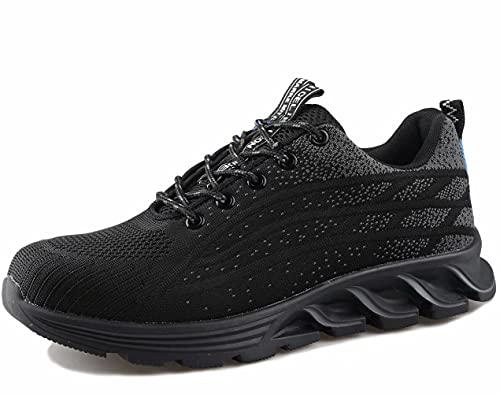 [ブルーポメロ] 安全靴 あんぜん靴 作業靴 メンズ レディース 軽量 通気性 鋼先芯JIS H級相当 KEVLARミッドソール 耐摩耗 クッション性 オシャレ 9017ブラック 25.5