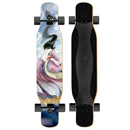 FDQNDXF Longboard Skateboard, Tablero Plano y el Consejo Profesional de Dos Tipos, Completa MAPE Canadiense monopatín de Madera con Ruedas de la PU y rodamientos de Acero al Carbono,Azul,Flat