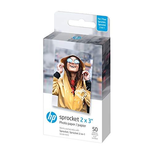 """HP 2x3"""" Papel fotográfico premium Zink (50 hojas) compatible con la impresora fotográfica portátil Sprocket"""