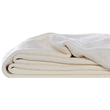 Eddie Bauer 200607 Herringbone Cotton Blanket, Full/Queen, Bone