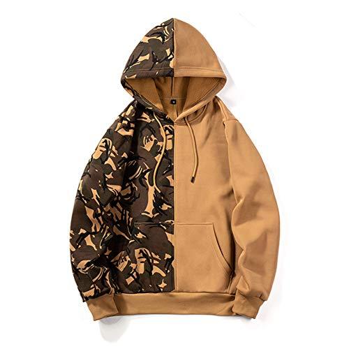 YZANYFQH Herbst Und Winter Herren Camouflage Double-Blocking Color Sportpullover Herren Kapuzenpullover LäSsige Herrenbekleidung