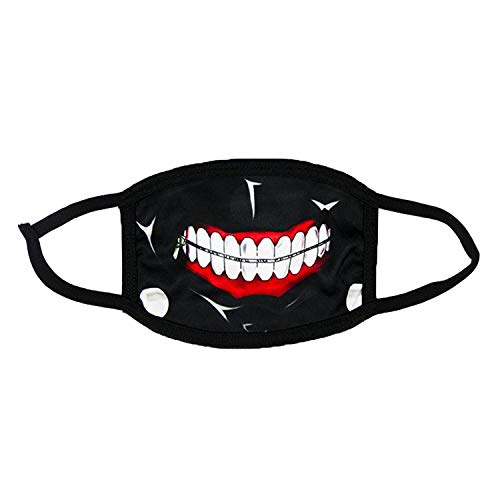 Kaneki Ken Mouth Mask Anime Halloween Cosplay Props Cycling Face Masks Accessories Cotton (Style 1) Black