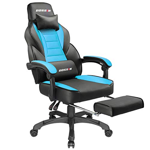 BOSSIN Racing Style Gaming Chair Office Computer Desk Chair with Footrest and Headrest, Ergonomic Design, Large Size High-Back E-Sports Chair, PU Leather Swivel Chair (Tiffany Blue)