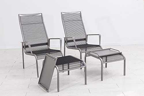 ElGiga by Mandalika Brica - 2 poltrone Lounge in Alluminio e Titanio, con Sgabello, Colore: Antracite