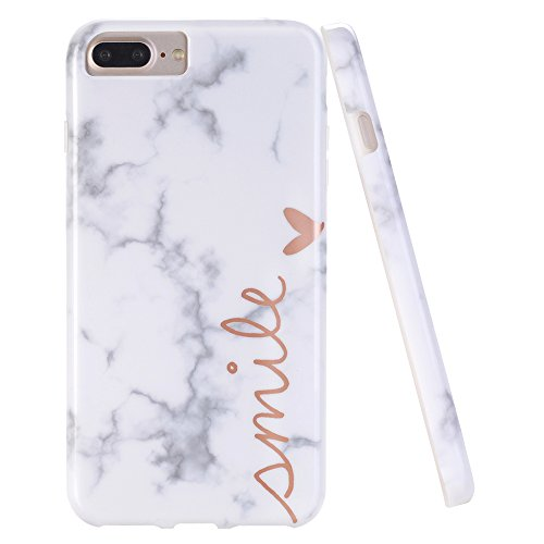 DOUJIAZ iPhone 7 Plus Case,iPhone 8 Plus Case,Marble Design Anti-Scratch &Fingerprint Shock Proof Thin Non Slip Silicone Hard Protective Cover for iPhone 7 Plus/8 Plus/6 Plus/6s Plus -Smile