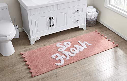 "VCNY Home Fresh Collection Bath Rug Runner-Boho Fringe Striped Design-for Bathroom, Hallway, or Kitchen Use, 24"" x 60"", Blush"