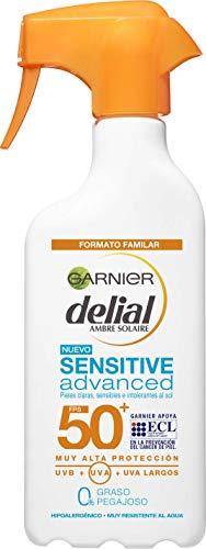 Garnier Delial Sensitive Advanced - Leche Solar para Pieles Claras, Sensibles e Intolerantes al Sol, IP50+ - 300 ml
