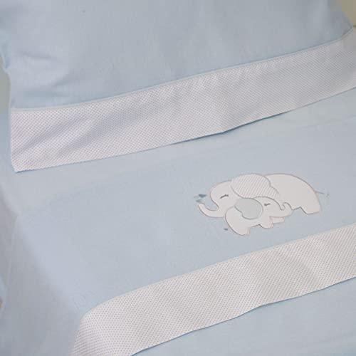 10XDIEZ Juego de sábanas cuna franela elefante azul | (Maxicuna - 70x140 cm - Azul)