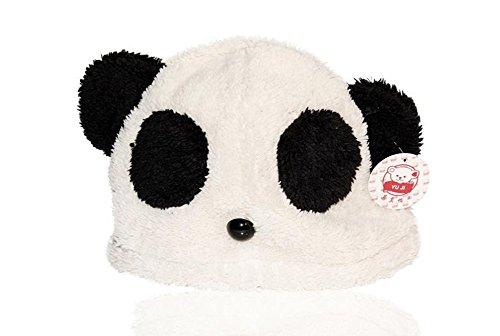 Chic-Net Tiermütze Beanie Mütze Skimütze Tiergesicht Panda Bär unisex weiß schwarz Kinder Erwachsene Herren Damen Jungen Mädchen Plüsch Knopfnase warm Wintermütze dick Animal Design