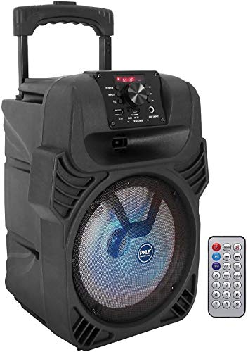 "400W Portable Bluetooth PA Loudspeaker - 8"" Subwoofer System, 4 Ohm/55-20kHz, USB/MP3/FM Radio/ ¼ Mic Inputs, Multi-Color LED Lights, Built-in Rechargeable Battery w/ Remote Control - Pyle PPHP844B"