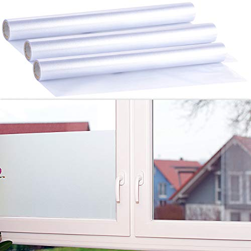 infactory Fensterfolien: 3er-Ser statisch haftende Milchglas-Sichtschutz-Folien, je 45 x 200 cm (Fensterfolie Sichtschutz Milchglas)