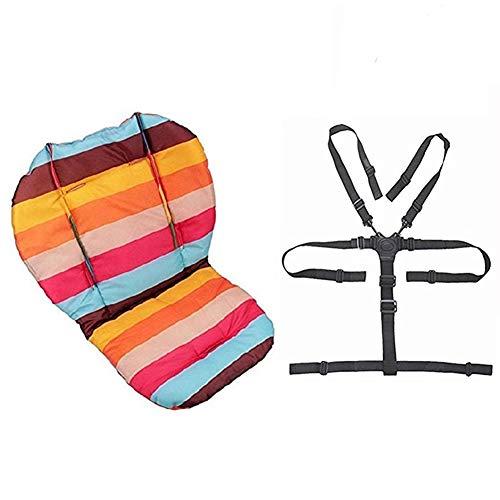 Sacs d'assise, Ywoworld bébé Poussette/voiture/chaise haute Coussin d'assise Liner Mat Pad Housse de protection arc-en-ciel à rayures résistant à l'eau et sangles de chaise haute Harnais de point de