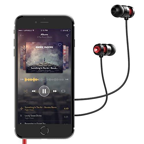 AUKEY Oreillette filaire Écouteurs intra-auriculaire stéréo ergonomique Ultra confortable avec Microphone et Bouton de Multifonction, 1,2 m pour les smartphones et les tablettes(Bronzé)