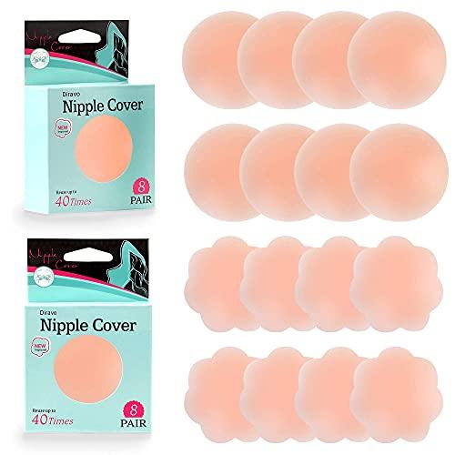 8 Pair Pasties Womens Reusable Silicone Nipple Covers Concealers Adhesive Nippless Pasties Nude (8 Pair Round&Flower)