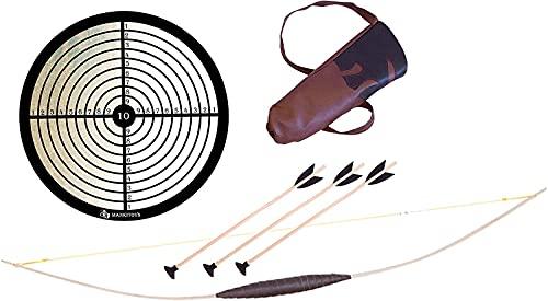 mankitoys El juego de arco infantil incluye arco infantil de madera de 120 cm, carcaj, 3 flechas con ventosa y diana, arco para niños a partir de 5 años.