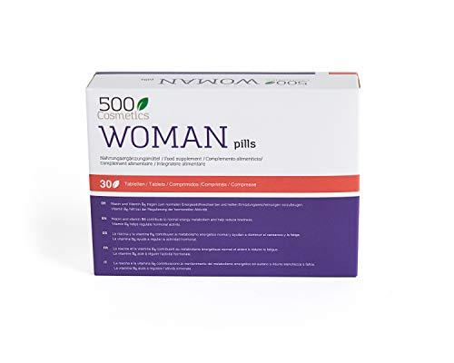500Cosmetics Woman–Tabletas Naturales Para Aliviar los Síntomas de la Menopausia, Regulación Hormonal y Aumento de la Líbido-Ingredientes Naturales-1 toma diaria-Fabricado y Registrado en la UE (3)