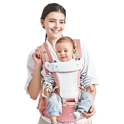 GBlife Marsupio Neonati Ergonomico con Sedile Puro Cotone Leggero e Traspirante 3D Mesh Poliestere 4 Modi Multiposizione Porta Bebè fit Neonato Bambin